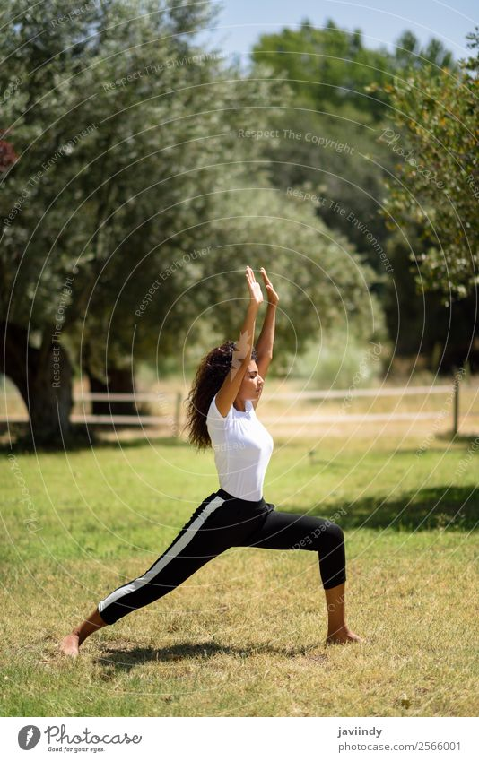Young Arab woman doing yoga in nature. Woman Human being Nature Youth (Young adults) Young woman Summer Beautiful Green Relaxation Calm 18 - 30 years Black