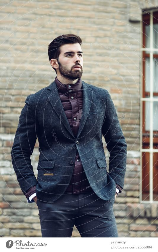 Young bearded man wearing british elegant suit outdoors Human being Youth (Young adults) Man Beautiful Young man White 18 - 30 years Street Lifestyle Adults