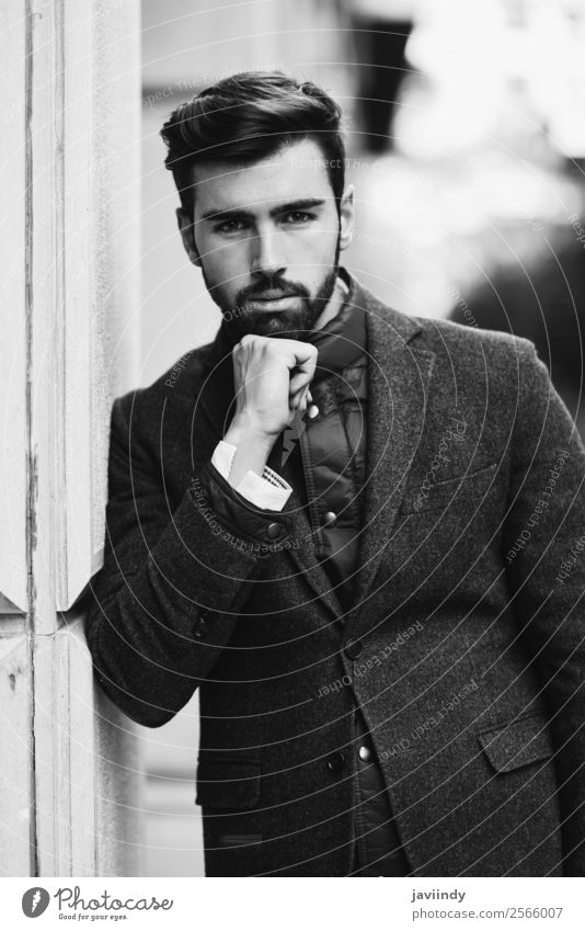 Young bearded man wearing british elegant suit Lifestyle Elegant Style Beautiful Hair and hairstyles Human being Masculine Young man Youth (Young adults) Man