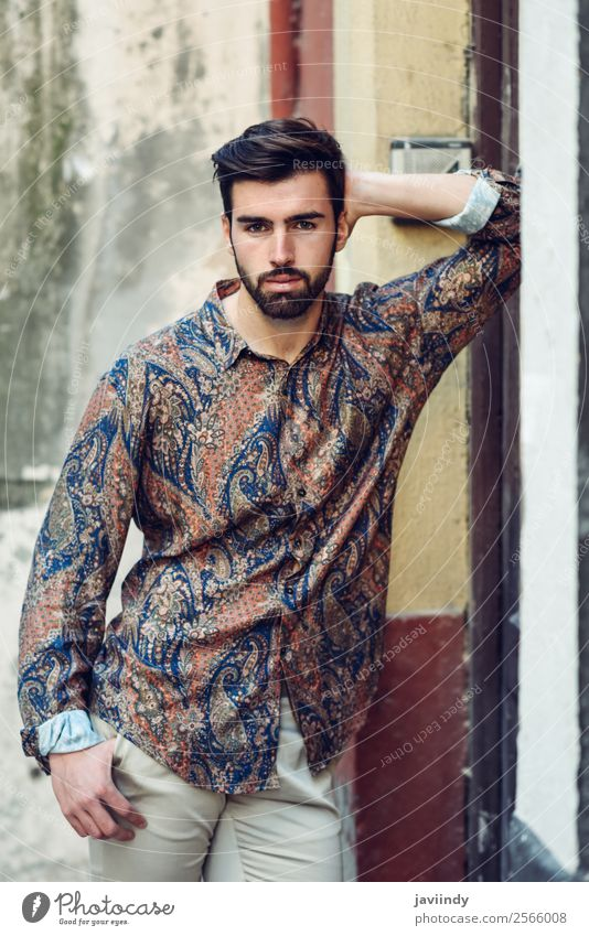 Young bearded man wearing modern shirt outdoors Lifestyle Style Beautiful Hair and hairstyles Human being Masculine Young man Youth (Young adults) Man Adults 1