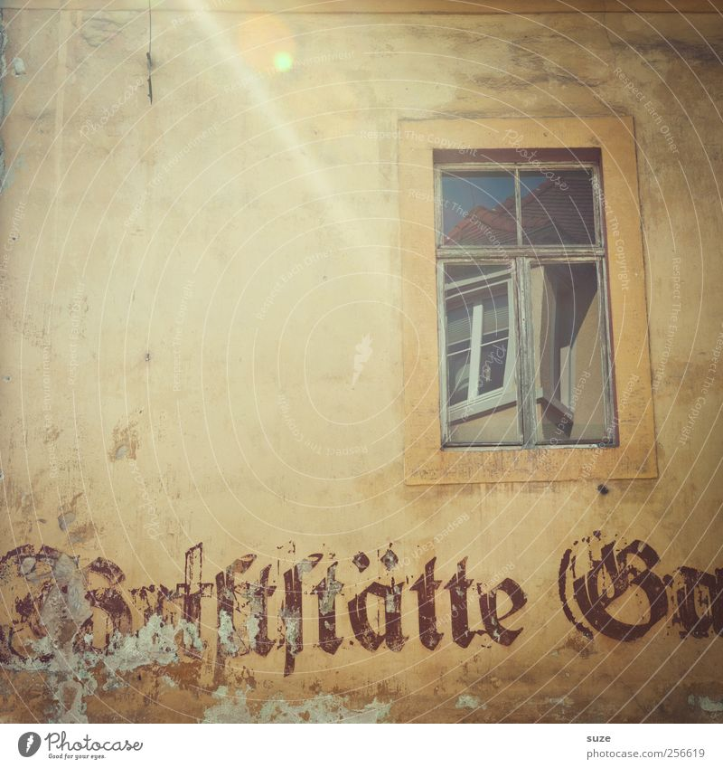 Old House (Residential Structure) Window Wall (building) Wall (barrier) Facade Authentic Characters Gloomy Transience Dry Gastronomy Past Typography Beige Reflection