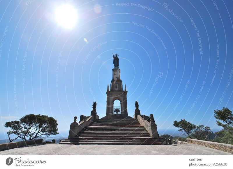 motif Sky Sun Summer Beautiful weather Manmade structures Stairs Tourist Attraction Landmark Monument Esthetic Monument to the Christ the King San Salvador