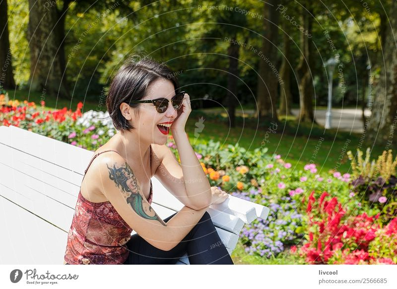 hipster girl in the park II Lifestyle Style Beautiful Summer Garden Human being Feminine Woman Adults Body 1 18 - 30 years Youth (Young adults) Nature Park