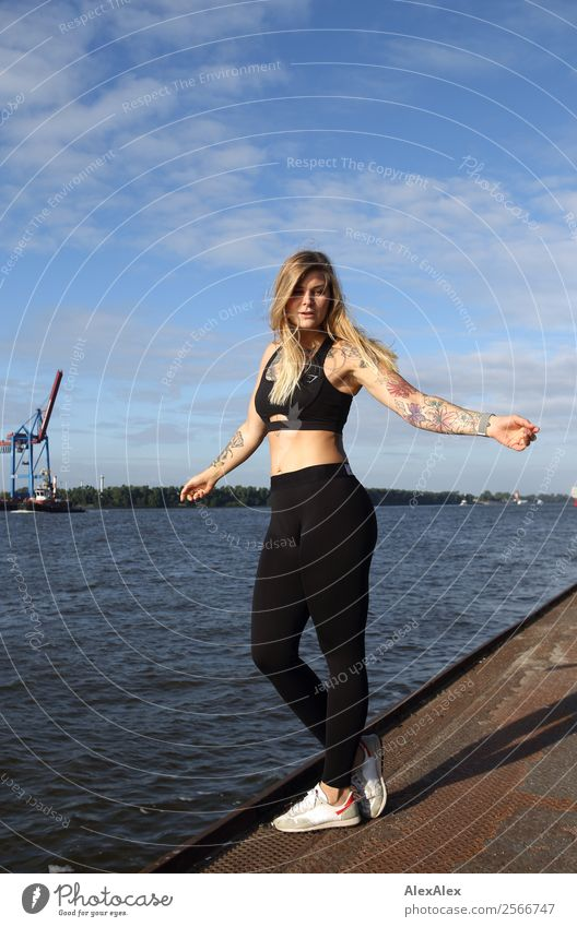 Youth (Young adults) Young woman Summer Beautiful Landscape Joy 18 - 30 years Adults Life Blonde Esthetic Beautiful weather Fitness Large Wellness Harbour