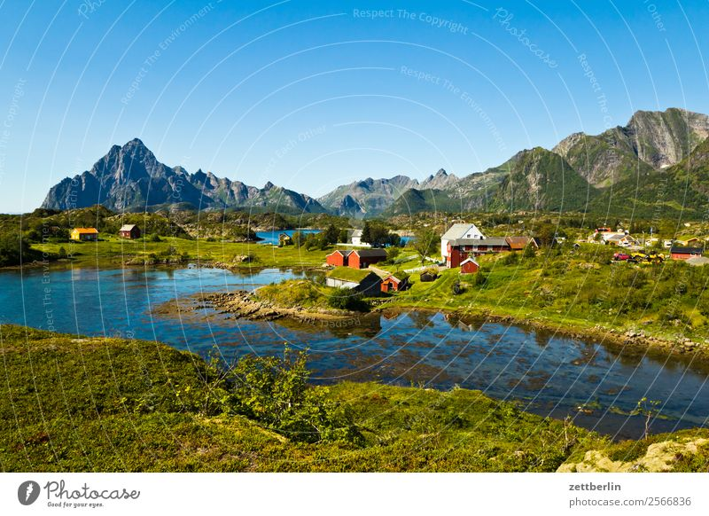 Vågakallen, further right Arctic Ocean Europe Village Rock Vacation & Travel Fjord Sky Heaven Horizon Island Landscape Maritime Nature Nordic Norway