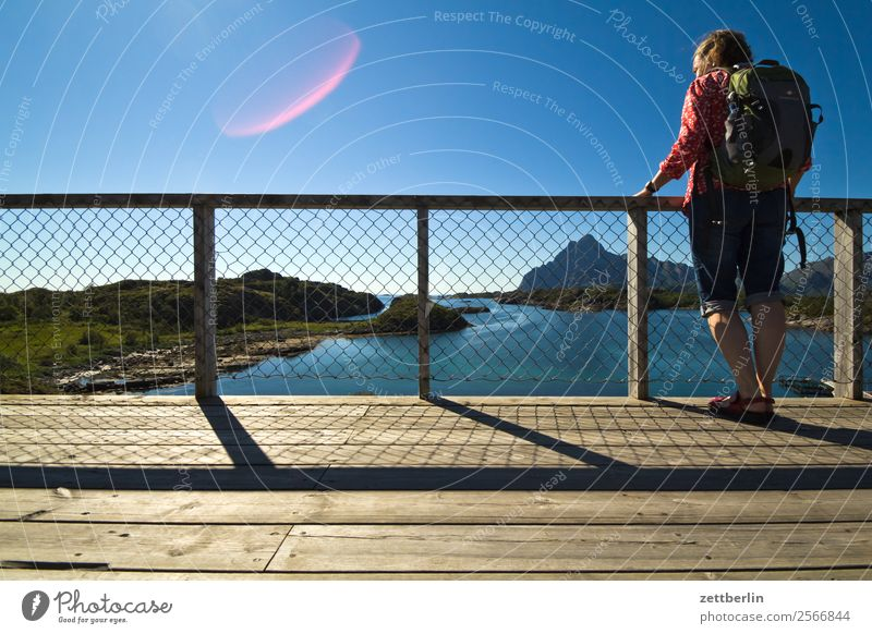 Woman Sky Nature Vacation & Travel Heaven Water Landscape Ocean Clouds Travel photography Copy Space Rock Hiking Horizon Back Stand