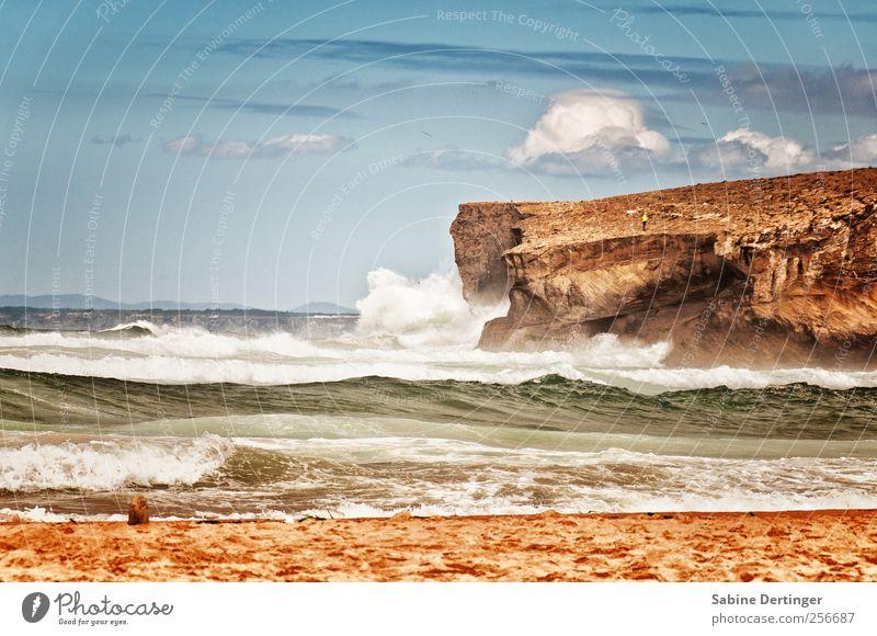 Atlantic Nature Landscape Sand Water Sky Clouds Summer Beautiful weather Wind Rock Waves Coast Beach Bay Ocean Atlantic Ocean Portugal Europe Relaxation