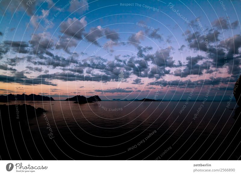 Evening sky in Lofoten Dusk Arctic Ocean Europe Rock Vacation & Travel Fjord Sky Heaven Horizon Island Landscape Lofotes Maritime Nature Nordic Norway