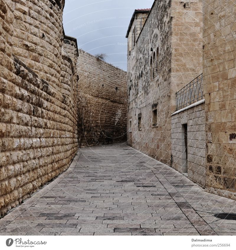 Streets of Israel Capital city Old town Deserted Places Architecture Wall (barrier) Wall (building) Town Gold Gray Power Safety Brick construction