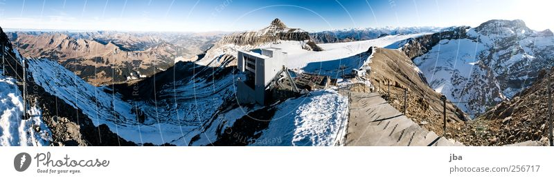 Nature Old Winter Snow Mountain Stone Rock Facade Stairs Trip Tourism New Roof Alps Beautiful weather Tourist Attraction