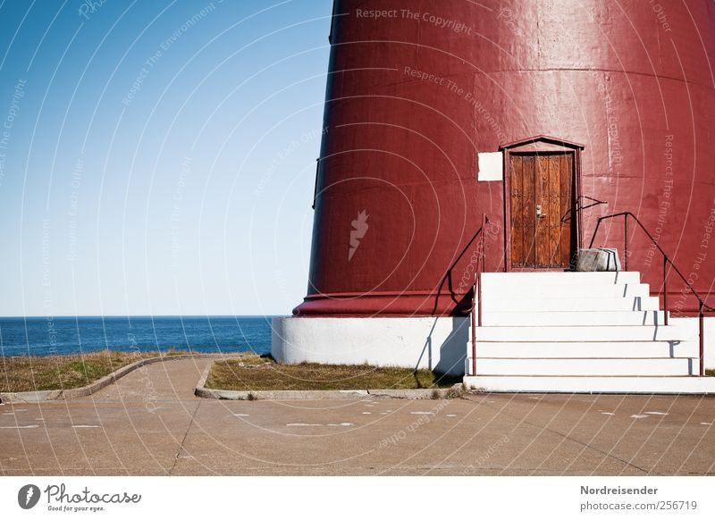 Slettnes fyr Vacation & Travel Tourism Far-off places Summer Sun Landscape Cloudless sky Beautiful weather Ocean Lighthouse Manmade structures Building