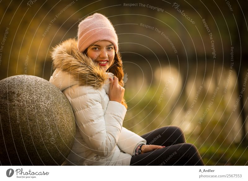 Portrait at the lake Human being Feminine Young woman Youth (Young adults) Woman Adults 1 18 - 30 years Nature Water Sunrise Sunset Autumn Park Lakeside Pond