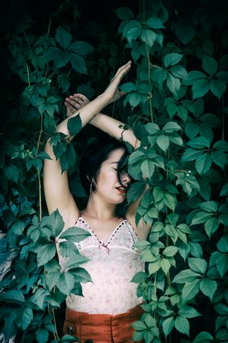 tattooed woman III Lifestyle Style Beautiful Summer Garden Human being Feminine Woman Adults Body 1 18 - 30 years Youth (Young adults) Nature Park Fashion