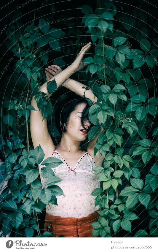 tattooed woman III Woman Human being Nature Youth (Young adults) Summer Beautiful Green 18 - 30 years Lifestyle Adults Feminine Style Garden Fashion Park Body