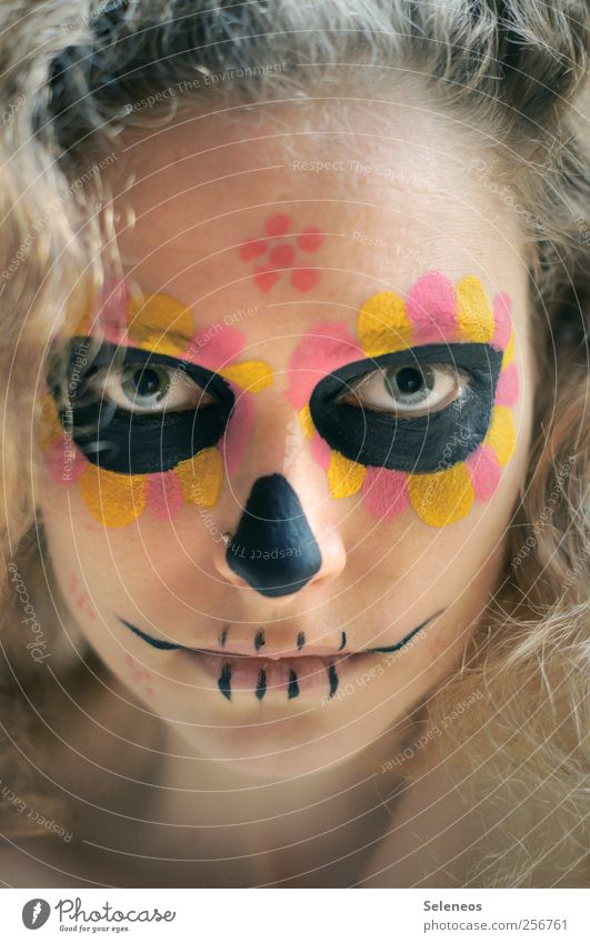 dios de los muertos III Hair and hairstyles Skin Face Cosmetics Make-up Hallowe'en Day of the Dead Human being Feminine Young woman Youth (Young adults) Eyes