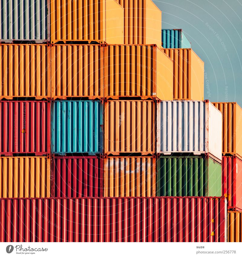 game over Industry Trade Logistics Services Environment Sky Container Metal Rust Stripe Old Sharp-edged Large Arrangement Metalware Cargo Container terminal