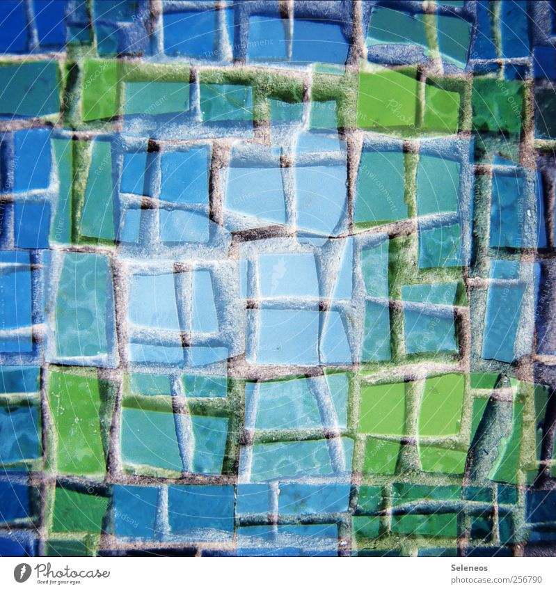 Clay Stones Shards Wall (barrier) Wall (building) Facade Line Sharp-edged Small Blue Green Mosaic Tile Double exposure Colour photo Exterior shot Close-up