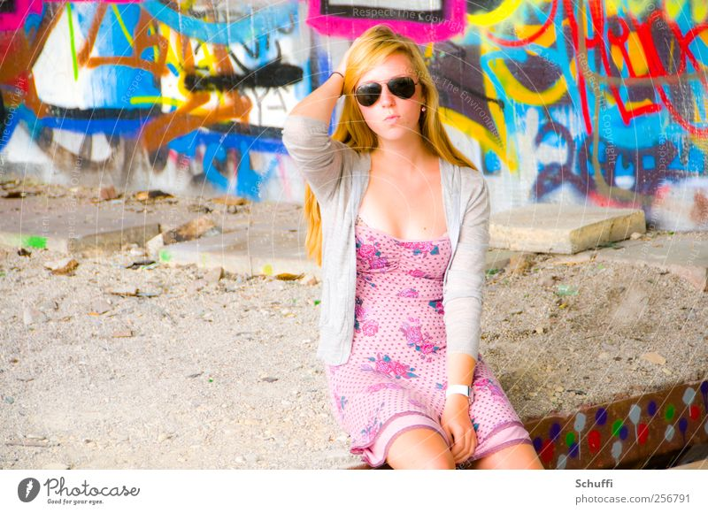 Human being Beautiful Feminine Style Fashion Pink Sit Lifestyle Posture Model Thin Young woman Serene Hip & trendy Sunglasses Attractive