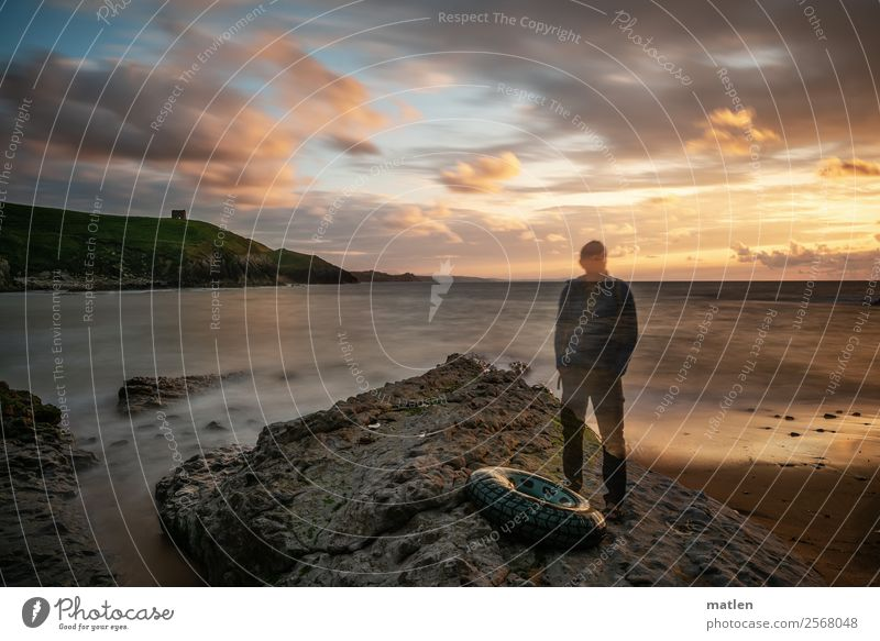 the old man and the sea Masculine Man Adults 1 Human being Nature Landscape Sky Cloudless sky Horizon Sunrise Sunset Summer Beautiful weather Grass Hill Rock