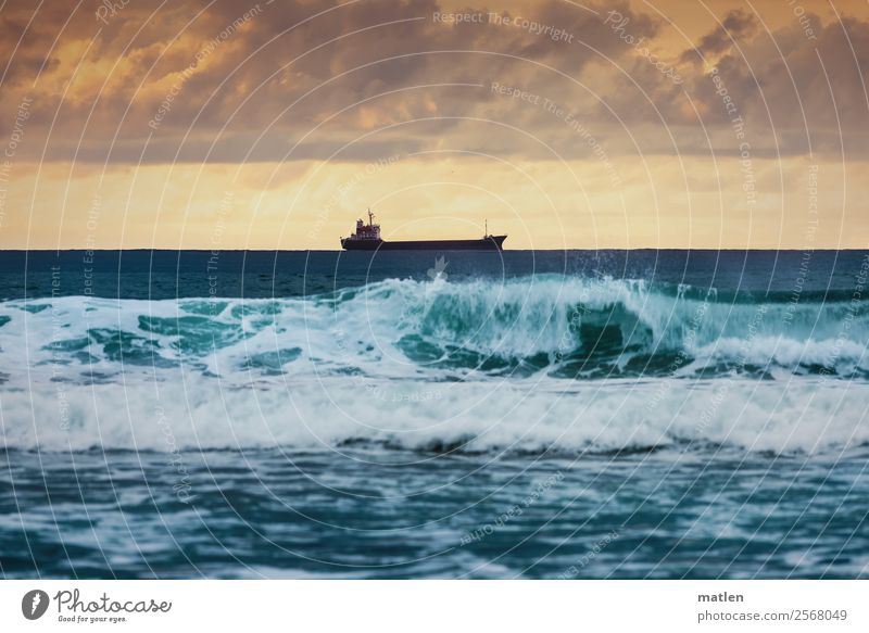 A ship will come Nature Water Sky Clouds Storm clouds Horizon Sunrise Sunset Summer Ocean Navigation Container ship Dark Blue Violet Orange White Waves Surf