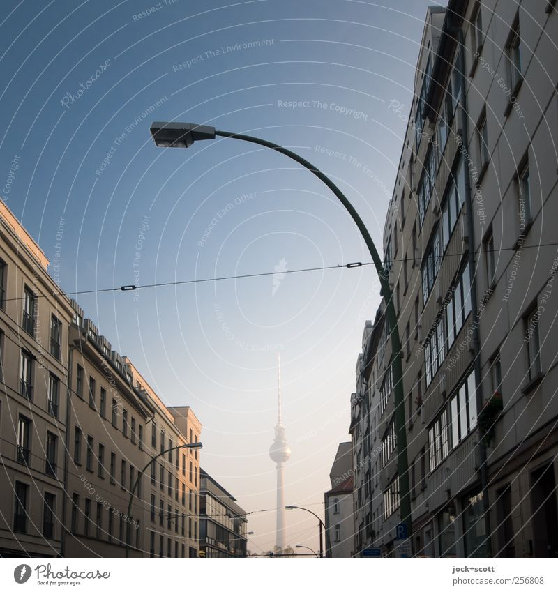 Little Darling Cloudless sky Downtown Berlin Capital city Tower Facade Housefront Landmark Berlin TV Tower Traffic infrastructure Original Town Blue Moody