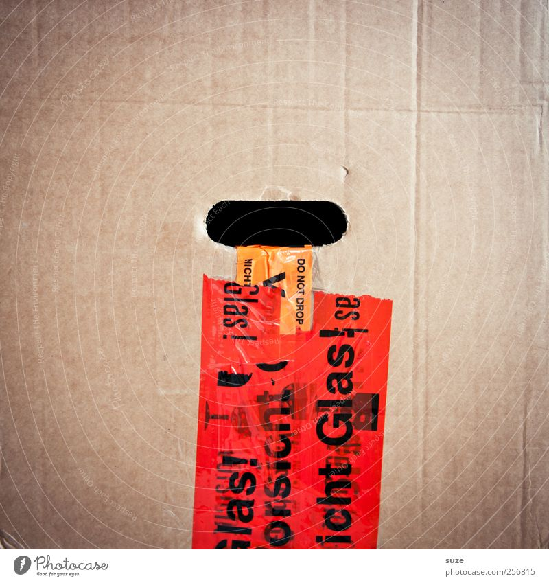 Pappenheimer Moving (to change residence) Characters Signage Warning sign Simple Red Cardboard Typography Warning label Label Adhesive tape Packing case Fragile