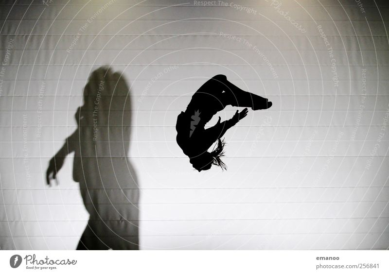 The silhouette and the beast Style Joy Sports Sportsperson Human being Body 2 Movement Flying Jump Athletic Hideous Tall Beautiful Black Fear Trampoline Beast
