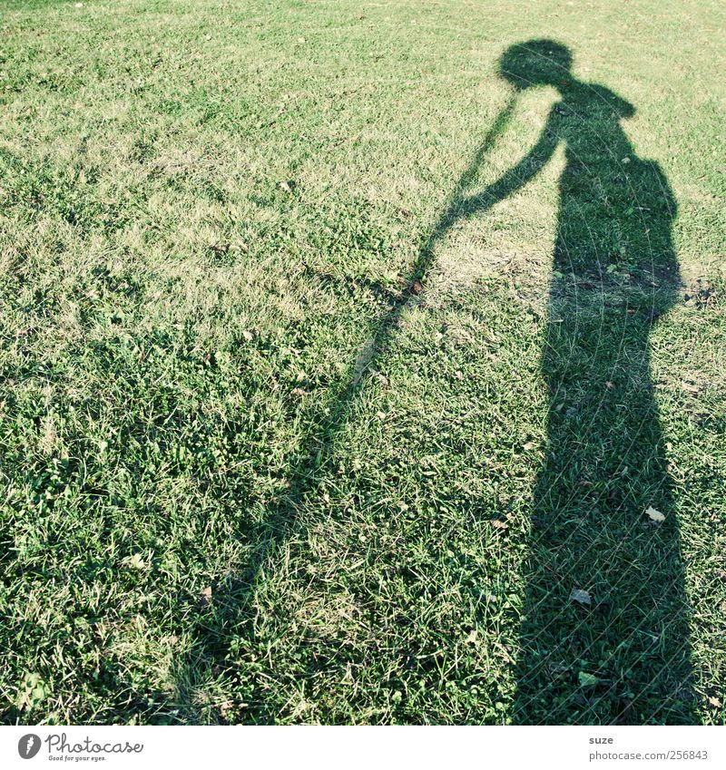 Human being Nature Green Environment Meadow Grass Funny Head Exceptional Leisure and hobbies Crazy Signage Rod Headwear Warning sign Shadow play
