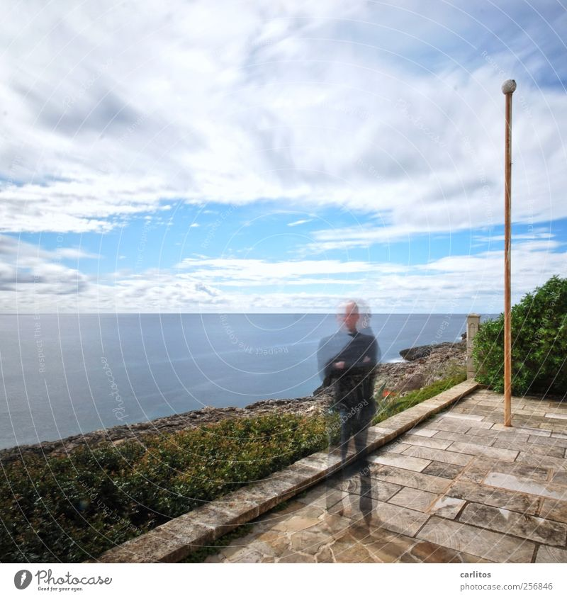 Me&I Elements Air Water Sky Clouds Summer Beautiful weather Bushes Coast Ocean Terrace Stand Flagpole Natural stone Diagonal polygonal Rectangle Sandstone Pole