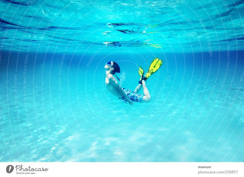 floating state Vacation & Travel Summer Summer vacation Dive Snorkeling Human being Boy (child) Youth (Young adults) Life 1 Nature Water Ocean Relaxation