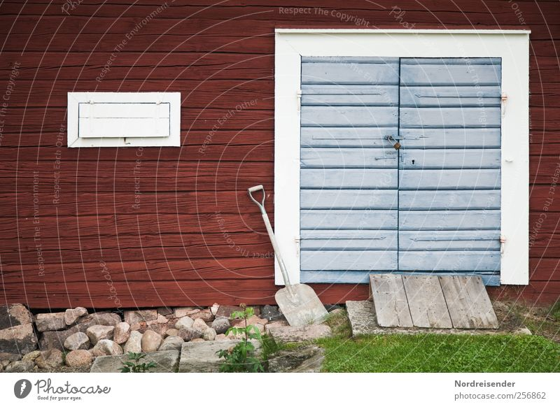 Waiting for snow.... Gardening Shovel Fishing village House (Residential Structure) Building Architecture Wall (barrier) Wall (building) Facade Door Wood Line