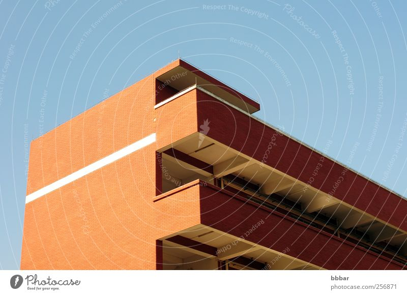 Roof details of a modern building Sky Blue City Red Landscape House (Residential Structure) Environment Wall (building) Wall (barrier) Building Weather