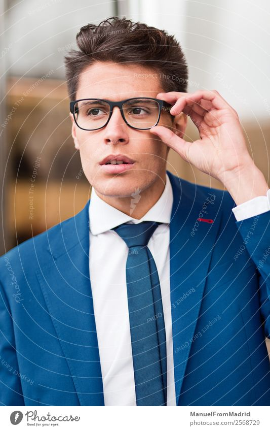 portrait of a pensive businessman Lifestyle Style Work and employment Business Human being Man Adults Street Fashion Suit Modern Smart Self-confident