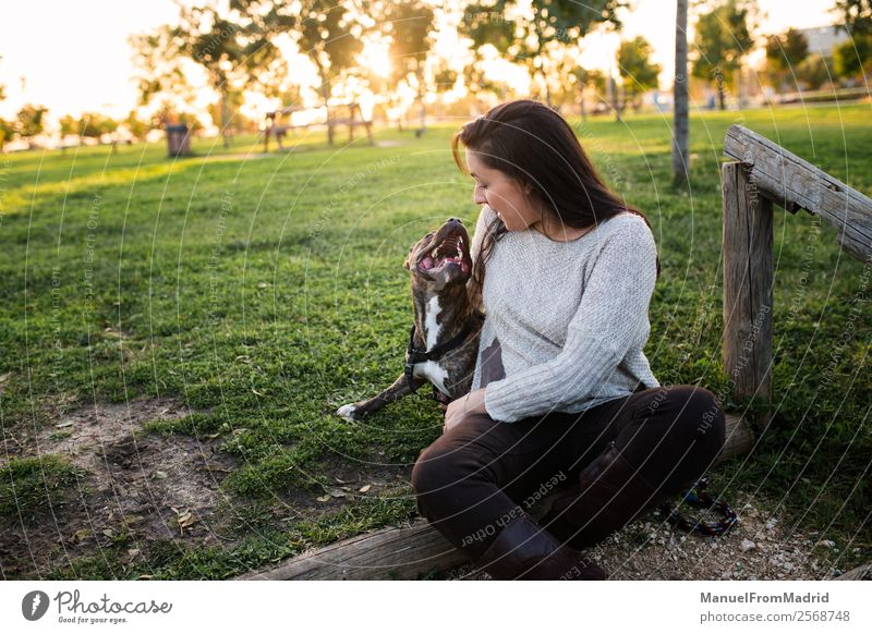 young woman with her dog at a park Woman Nature Dog Beautiful Green Animal Joy Lifestyle Adults Happy Grass Together Friendship Park Smiling Happiness