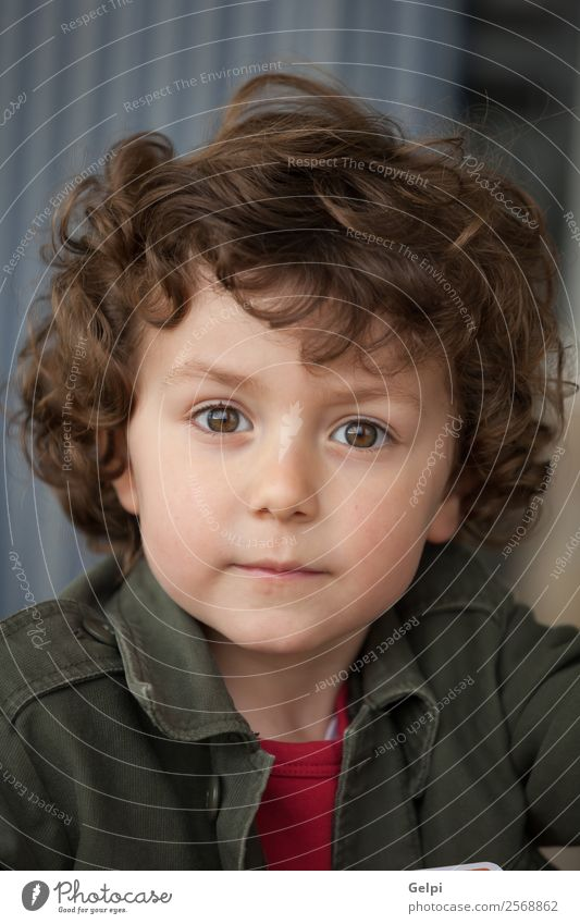 Small child with two years and curly hair looking at camera Joy Happy Face Kindergarten Child Human being Baby Toddler Boy (child) Man Adults Infancy Park