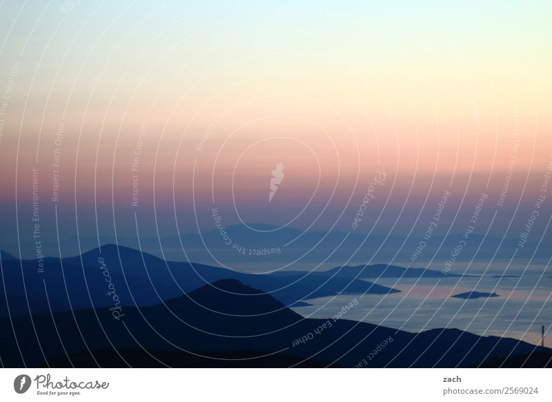 Emotion romance Vacation & Travel Summer Ocean Island Nature Water Sky Night sky Sunrise Sunset Beautiful weather Hill Coast Bay Aegean Sea Mediterranean sea