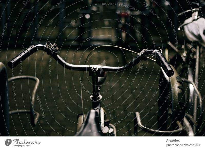 bike park Means of transport Passenger traffic Bicycle Stone Steel Rust Old Movement Driving Dark Simple Historic Town Blue Gray Dependability Prompt Broken