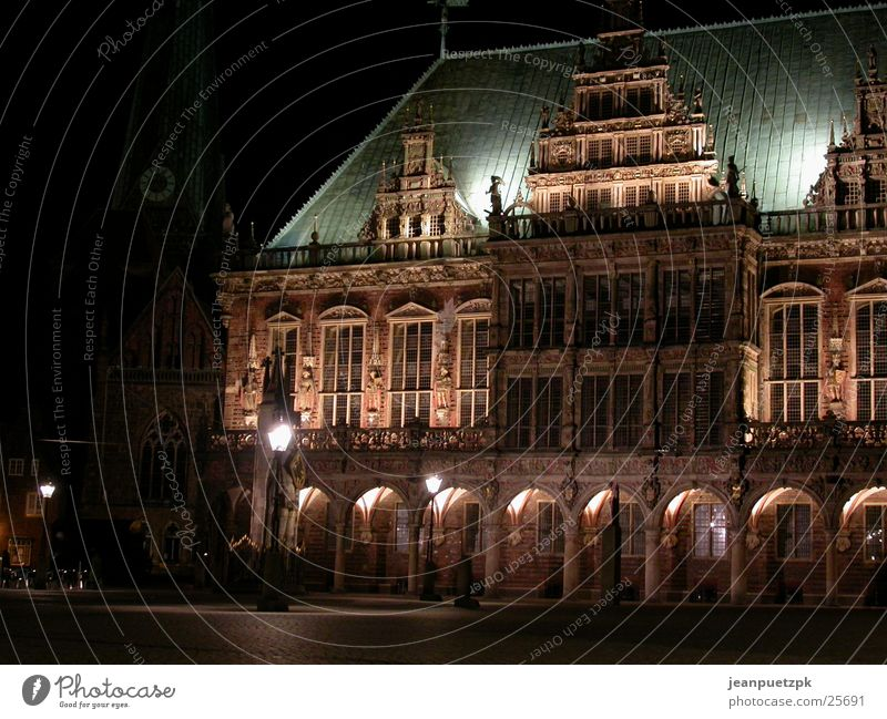 Bremen at night City hall Night Lighting Places Europe town musicians