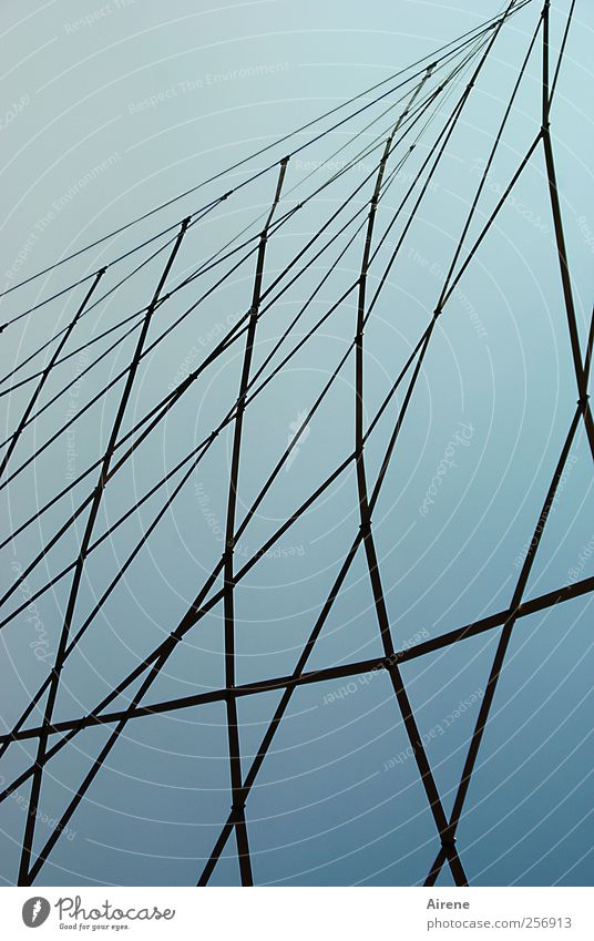 tightly stretched Sky Deserted Architecture Construction Metal Net Steel cable steel mesh Esthetic Tall Point Blue Black Dangerous Interlaced interwoven