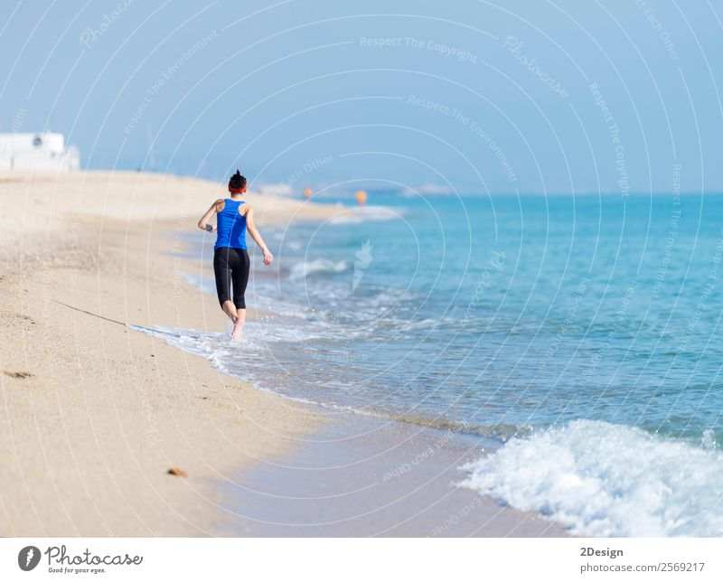 Woman Exercising On Beach ( running ) Happy Vacation & Travel Summer Ocean Sports Jogging Retirement Human being Feminine Young woman Youth (Young adults)