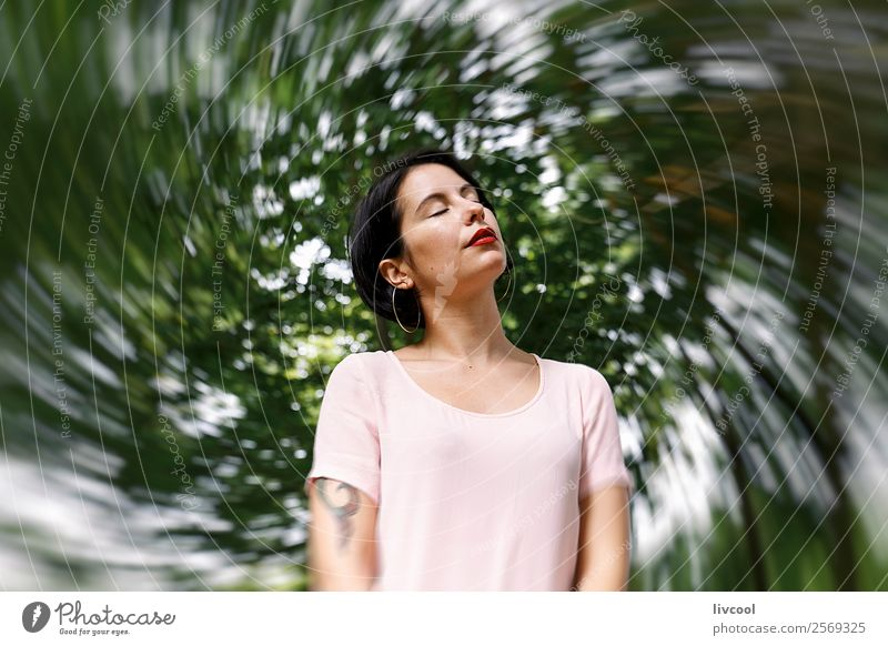 hipster woman V Lifestyle Style Beautiful Summer Garden Human being Feminine Woman Adults Female senior 18 - 30 years Youth (Young adults) Nature Park Fashion