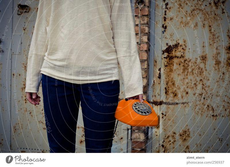 Human being City Blue White Fashion Brown Orange Office Wait Communicate Clothing Telecommunications Retro Telephone Listening Rust