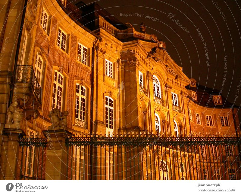 Münster at night Building Lighting Fence Europe Castle