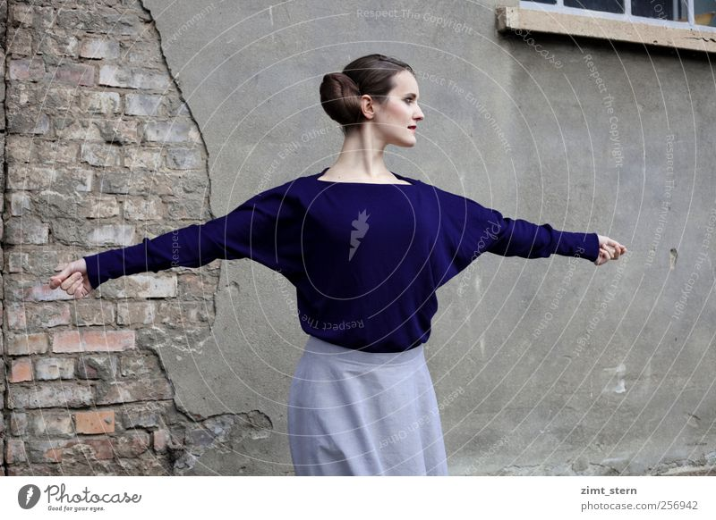 Blue Elegance II Elegant Style Beautiful Dancing school Body tension Ballet Feminine Young woman Youth (Young adults) 1 Human being Wall (barrier)