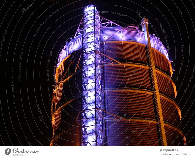 Gasometer Oberhausen Structural change Night Lighting Culture The Ruhr Architecture Industrial Photography