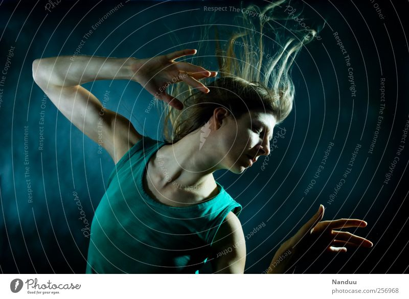 Colourful sounds float softly in space. Human being Feminine 1 Esthetic Exceptional To enjoy Dance Modern dance Hover Without makeup Blonde Meditation