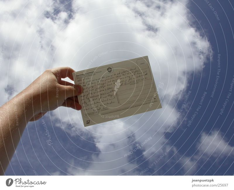 sky mail Clouds Hand Thought Text Line (row of words) Europe Sky Card ramble posthumous Sadness