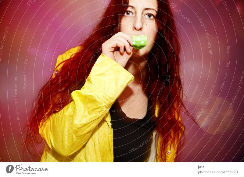 *trööööööt* Joy Feasts & Celebrations Human being Feminine Woman Adults 1 30 - 45 years Jacket Hair and hairstyles Red-haired Long-haired Hip & trendy Yellow