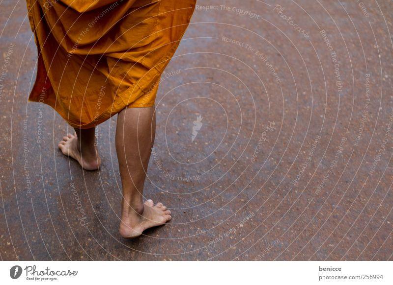 Religion and faith Legs Feet Orange Going Poverty Ground Floor covering Asia Prayer Barefoot Thailand Temple Modest Buddha Monk
