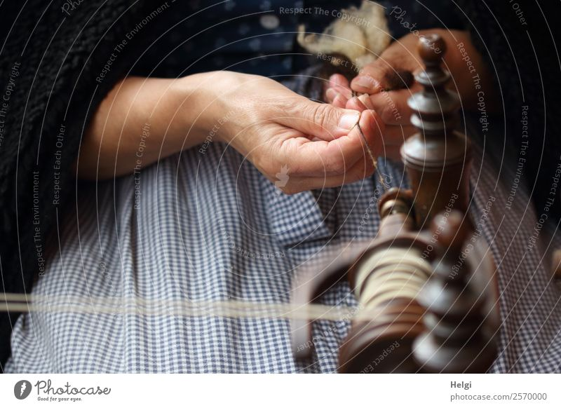 the weirdo Human being Feminine Senior citizen Hand Fingers 1 60 years and older Spinning wheel Bobbin Sewing thread String Wood Work and employment To hold on